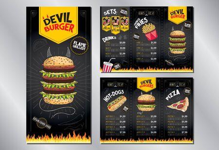 Devil burger - tarjeta / plantilla de menú de restaurante - (hamburguesas, papas fritas, hot-dogs, pizza, bebidas, juegos) - 3 x DL (99x210 mm) Ilustración de vector