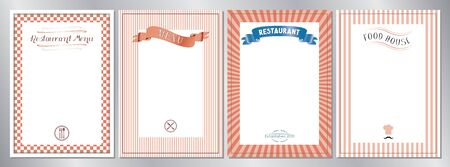 Red classic, retro, vintage restaurant menu templates - A4 format (210x297 mm)  イラスト・ベクター素材