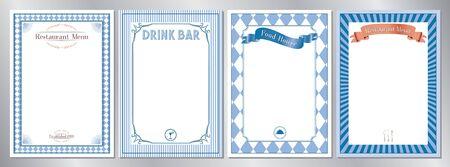 Blue classic, retro, vintage restaurant menu templates - A4 format (210x297 mm) 写真素材 - 137573110