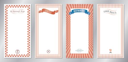 Red classic, retro, vintage restaurant menu templates - 20x40 cm 写真素材 - 137672685
