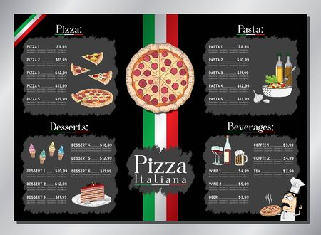 Pizza restaurant card template - table menu (pizza, pasta, desserts, drinks) - A3 size (420x297 mm)  イラスト・ベクター素材