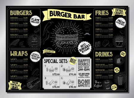Burger bar card template - table menu (burgers, wraps, french fries, drinks, sets) - A3 size (420x297 mm) 写真素材 - 137947981