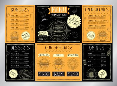 Burger bar card template - table menu (burgers, french fries, desserts, drinks) - A3 size (420x297 mm)