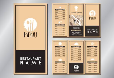 Vintage/ retro restaurant menu template - (starters, soups, main courses, pizza, desserts, drinks) - trifold brochure - 3 x DL (99x210 mm) 写真素材 - 137947995