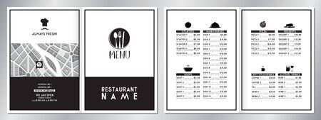 Vintage/ retro restaurant menu template - (starters, soups, main courses, pizza, desserts, drinks) - 2 x A4 size (210x297mm) 写真素材 - 137892694