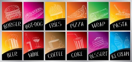 Colorful restaurant menu posters - A4 size (210x297mm)