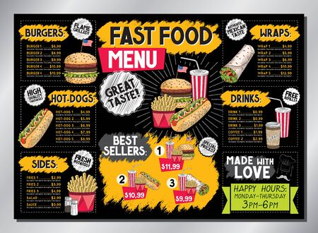 Burger bar card template - table menu (burgers, french fries, wraps, drinks, sets) - A3 size (420x297 mm)