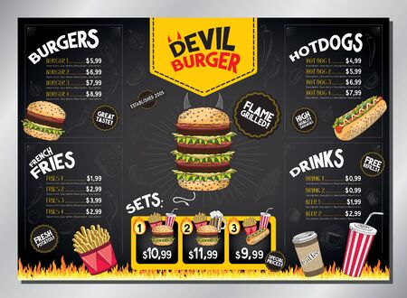 Devil burger card template - table menu (burgers, french fries, hot-dogs, drinks, sets) - A3 size (420x297 mm) Ilustrace