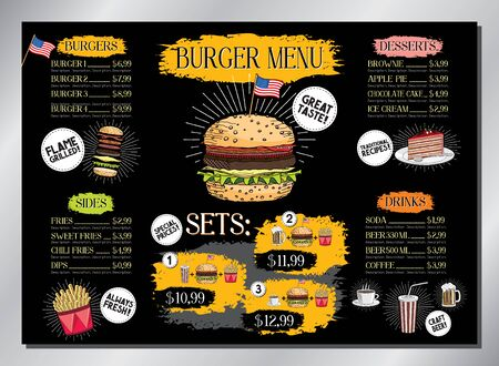 Burger bar card template - table menu (burgers, french fries, desserts, drinks, sets) - A3 size (420x297 mm)