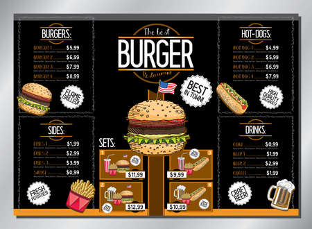 Burger restaurant card template - table menu (burgers, french fries, hot-dogs, drinks, sets) - A3 size (420x297 mm)