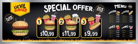 Devil burger bar menu template - price list/ ordering board/ banner (burgers, french fries, hot-dogs, drinks) - 200 x 60 cm