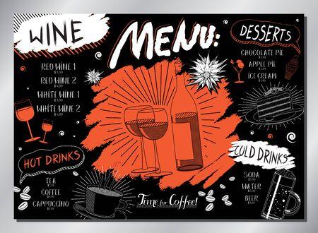 Vintage wine table menu (wine, desserts, drinks) - A3 size (420x297 mm)