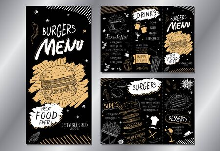 Vintage burger menu/ card template (burgers, french fries, desserts, drinks) - 3 x DL (3 x 99x210 mm) Vettoriali