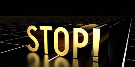 Stop! - concept, road - 3D rendering