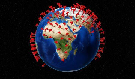 Global coronavirus epidemic outbreak concept - 3D illustration