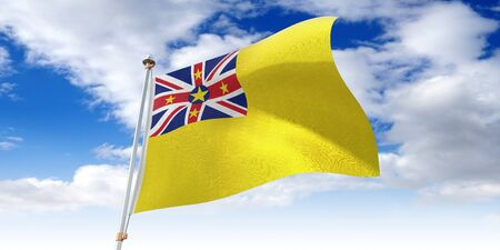 Niue - waving flag - 3D illustration