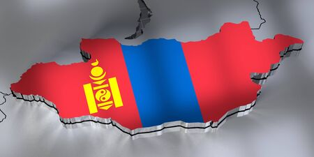Mongolia - borders and flag - 3D illustration