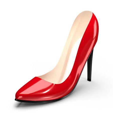 Red high heel shoe - 3D illustration
