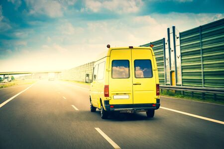 Delivery van on a highway Stockfoto