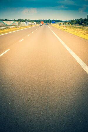 Highway, empty lane, close-up