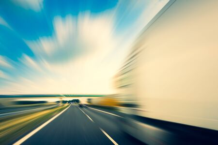 Truck on a highway Stockfoto