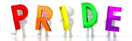 Pride - colorful letters - 3D illustration