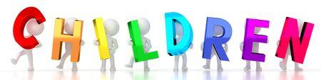 Children - colorful letters - 3D illustration