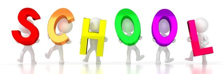 School - colorful letters - 3D illustration Stockfoto