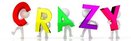 Crazy - colorful letters - 3D illustration