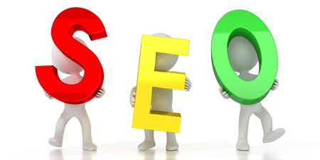 SEO - search engine optimization - colorful letters - 3D illustration