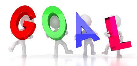 Goal - colorful letters - 3D illustration