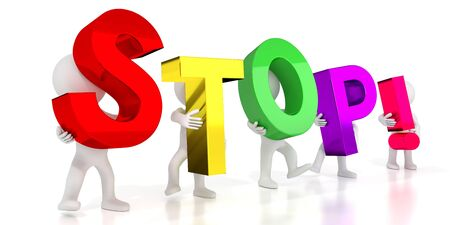 Stop! - colorful letters - 3D illustration Stockfoto