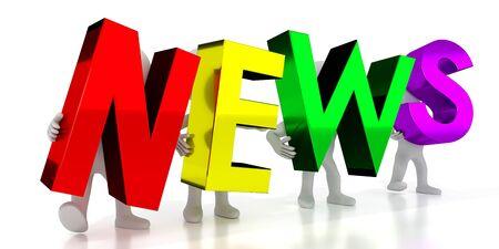 News - colorful letters - 3D illustration