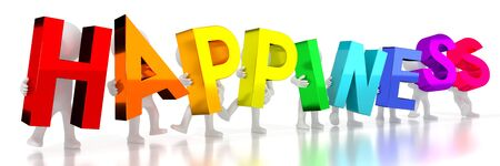 Happiness - colorful letters - 3D illustration