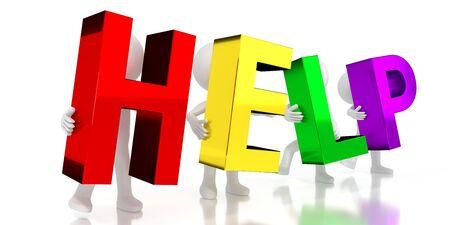 Help - colorful letters - 3D illustration