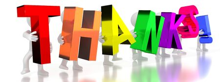 Thanks! - colorful letters - 3D illustration Stockfoto