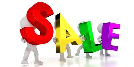 Sale - colorful letters - 3D illustration Stockfoto