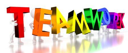 Teamwork - colorful letters - 3D illustration