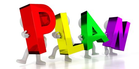 Plan - colorful letters - 3D illustration Stockfoto
