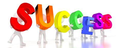 Success - colorful letters - 3D illustration