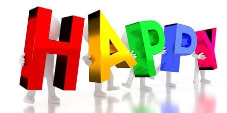 Happy - colorful letters - 3D illustration