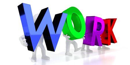 Work - colorful letters - 3D illustration