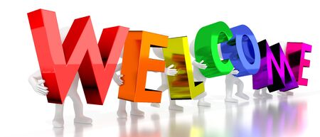 Welcome - colorful letters - 3D illustration