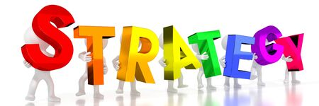 Strategy - colorful letters - 3D illustration Фото со стока