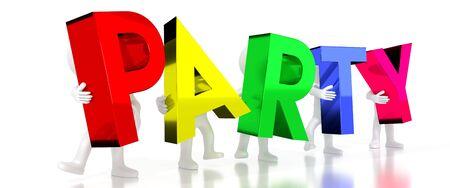 Party - colorful letters - 3D illustration Archivio Fotografico