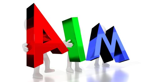 Aim - colorful letters - 3D illustration Фото со стока