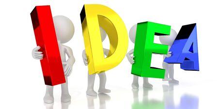 Idea - colorful letters - 3D illustration