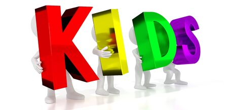 Kids - colorful letters - 3D illustration