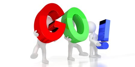 Go! - colorful letters - 3D illustration