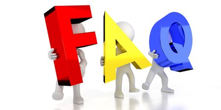 FAQ - frequently asked questions - colorful letters - 3D illustration